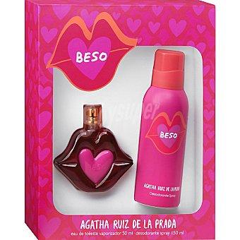 Ágatha Ruiz de la Prada Beso eau de toilette femenina vaporizador 50 ml + desodorante espray 1 50 ml