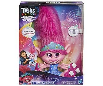 Trolls Muñeca Poppy Dancing Hair interctiva, World Tour trolls.