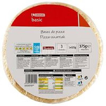 Eroski Basic Bases de pizza Pack 3x125 g