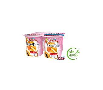 Kalise Yogur desnatado de naranja y papaya Pack de 4 unidades de 125 g