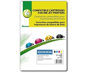 Productos Económicos Alcampo Cartucho color+negro TO441/2/3/4 (E23/24/25/26) - Compatible con impresoras: stylus C64/ C64 Photo/ C66/ C66 Photo/ C84/ C84 Photo /C86 /C86 Photo /CX3600 /CX3650 /CX6400 /CX6600