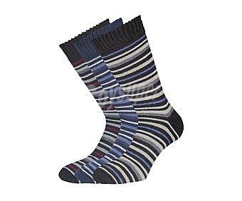 IN EXTENSO Pack de 3 pares de calcetines con rizo, color negro/marimo/verde con rayas, talla 40/45 Pack de 3