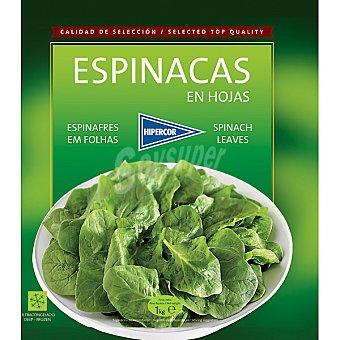 HIPERCOR espinacas en hojas bolsa 1 kg