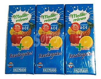 Hacendado Frutas+leche mediterraneo 3 x 330 cc