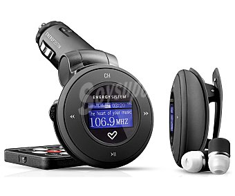 ENERGY SISTEM 1204 Transmisor FM Black para coche 4GB, con conector de mechero multifrecuéncia, Base MP3 portátil con pinza, mando a distancia, auriculares, color negro