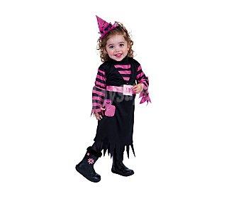 HAUNTED HOUSE Disfraz Bruja a rayas de color rosa y negro, talla 1 a 2 años, Halloween Bruja Rayas 1-2 años