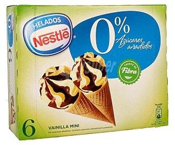 Helados Nestlé Mini conos de vainilla y chocolate sin azúcar Caja de 6 ud