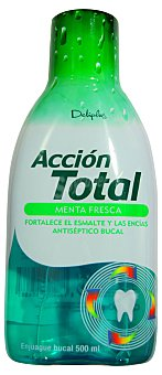 DELIPLUS ENJUAGUE BUCAL ACCION TOTAL SABOR MENTA FRESCA BOTELLA 500 cc