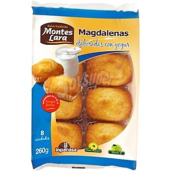 MONTES LARA INPANASA Magdalenas elaboradas con yogurt Bandeja 260 g