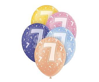 UNIQUE Globos de látex de colores surtidos con número 7 impreso, 12 pulgadas, 30 centímetros 5 unidades