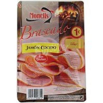 MONELLS Jamón cocido braseado lonchas finas Sobre 110 g