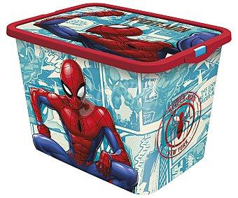 Spiderman Marvel Caja infantil para ordenación con diseño de Spiderman y tapa cierre click, 7 litros, disney. 7 litros
