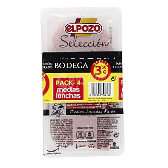 ElPozo Jamón curado medias lonchas Pack 4 x 45 gr