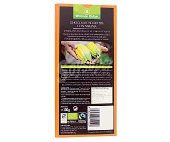Intermón Oxfam Chocolate 70% Cacao Negro y Naranja 100 Gramos