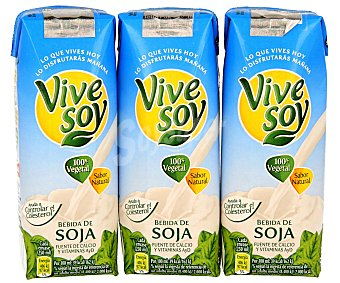 Vivesoy Bebida de Soja Natural Pack 3 Unidades de 250 mililitros