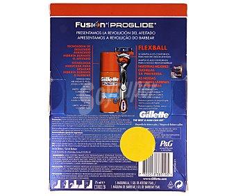 Gillette Fusion Proglide Estuche de hombre con cuchilla de afeitar recargable Gillette Flexball más gel de afeitar Gillette Fusion 75 mililitros 1 unidad
