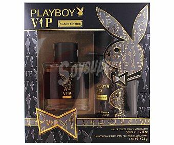 PLAY BOY VIP Estuche de hombre Black Edition Colonia 50 mililitros + desodorante 150 mililitros