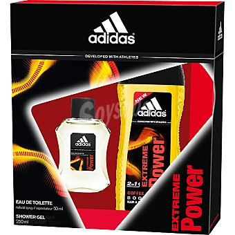 Adidas Eau de toilette natural masculina Extreme Power + gel de baño frasco 250 ml spray 50 ml