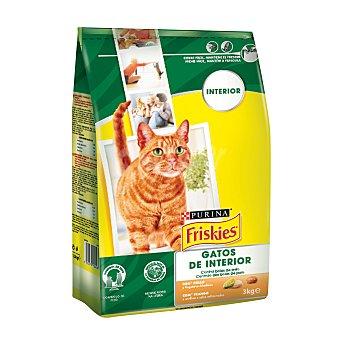 Purina Friskies Pienso para gato de interior  con pollo y verduras  Saco 3 kg