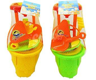 Euraspa Conjunto de juguetes de playa (cubo, pala, rastrillo...) de tamaño grande 1 unidad
