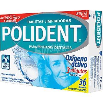 Polident Tabletas limpiadoras efervescentes para prótesis dentales con Oxígeno Activo caja 36 tabletas caja 36 tabletas