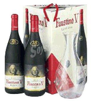 Faustino V Estuche cartón con 2 botellas de vino d.o.ca. Rioja Tinto Reserva 75 cl + Decantador