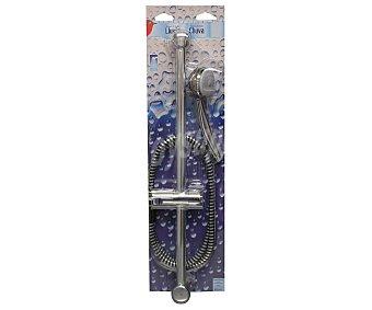 Auchan Conjunto de barra mural de 60 centímetros, manguera anillada flexible de 1.5 metros y mango curvo de 1 posición efecto lluvia, todos ellos cromados 1 Unidad