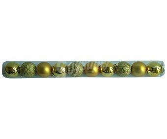 Actuel Tubo con 10 bolas de 6 centímetros de plástico de color dorado, con acabados metalizados y brillantes actuel 10u