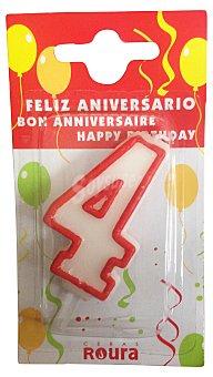 Roura Vela cumpleaños Nº 4 1 unidad
