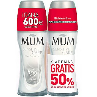 Mum Desodorante roll on Sensitive Care sin perfume pack 2 envase 50 ml ( pack especial 2ª unidad al 50% ) Pack 2 envase 50 ml