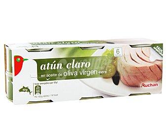 Auchan Atún Claro en Aceite de Oliva Virgen Extra Lata 6 Unidades
