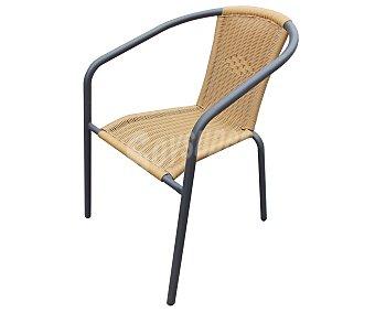 Garden star Silla aplilable con estructura de acero y asiento y respaldo de ratan de color marron, medidas: 64x52x74 centímetros 1 unidad