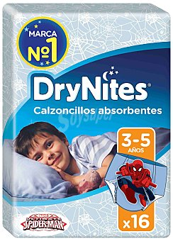 Dry Nites Calzoncillos de noche absorbentes para niños 3-5 años, 16-23 kg Paquete 16 unidades