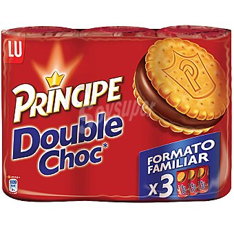 LU PRINCIPE Double Choc Galletas rellenas de chocolate Pack de 3x185 g