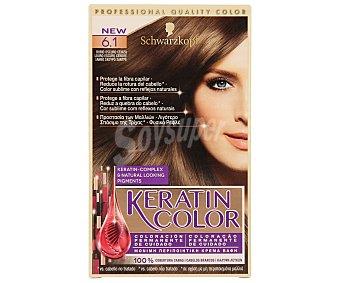 KERATIN COLOR Tinte nº 6.1 rubio oscuro ceniza coloración permanente de cuidado  Caja 1 unidad