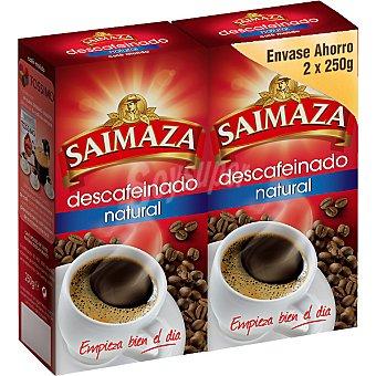 SAIMAZA café descafeinado natural molido pack 2 paquete 250 g