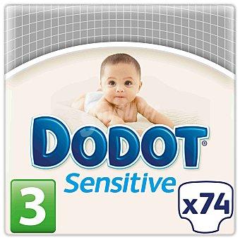 Dodot Sensitive Pañal recién nacido talla 3, de 5 a 10 kg Paquete 74 u