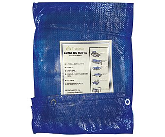 Tresdogar Lona o suelo de rafia de de color azul o verde, con ojales de aluminio a intervalos, bordes reforzados y medidas de 2 x 3 metros tresdogar 80 gramos