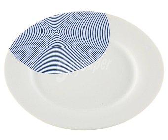 QUO Plato redondo para postres fabricado en porcelana con decoración Círculos azules, QUO