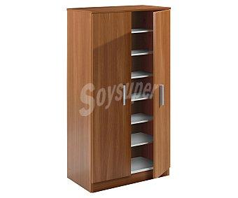FORÉS Zapatero armario de 6 baldas color castaño serie Basic, 108x55x36 centímetros 1 Unidad