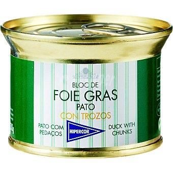 Hipercor Bloc foie gras de pato con trozos lata 130 g Lata 130 g