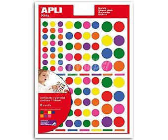 APLI Hoja de gomets adhesivos y removibles multicolor, basados en círculos de diferentes tamaños 6 unidad
