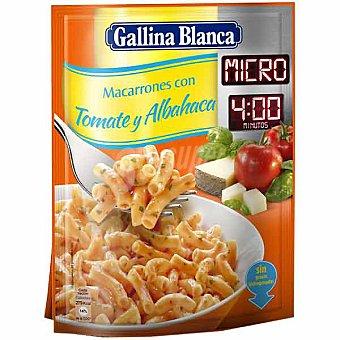 Gallina Blanca macarrones con tomate y albahaca micro 4 minutos sobre 81 g