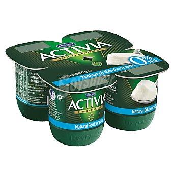 DANONE ACTIVIA Yogur desnatado natural edulcorado 0% materia grasa pack 4 unidades 125 g