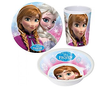 Disney Set de merienda fabricado en melamina con diseño Frozen, incluye 1 plato, 1 cuenco y 1 vaso 1 unidad