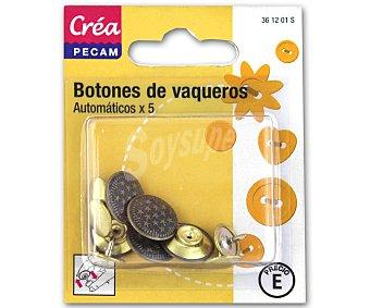 STYLE Pack de 5 botones para vaqueros, color cobre 1 Unidad