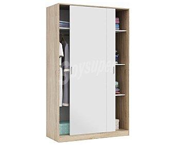 FORÉS Armario de dos puertas correderas estilo meditárraneo color blanco con fondo color madera robe canadiense, fabricado a base de melanina de alta calidad, 200x120x50 cm. fores