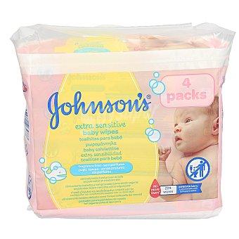 Johnson's Toallitas para bebés extra sensitive Pack 4 paquetes x 56 u