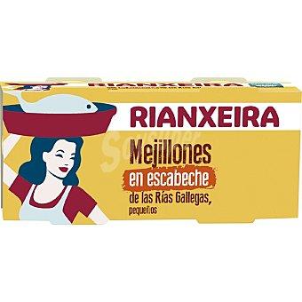 Rianxeira Mejillones en escabeche de las rías gallegas pequeños neto escurrido Pack 2 lata 43 g