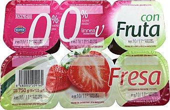 Hacendado Yogur desnatado trozos fresa 6 unidades de 125 g